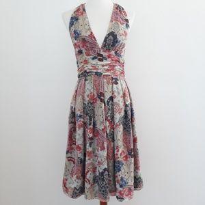 Adrianna Papell Floral silk Halter Dress sz 10